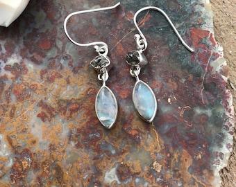 Moonstone Herkimer Silver Wrapped Earrings