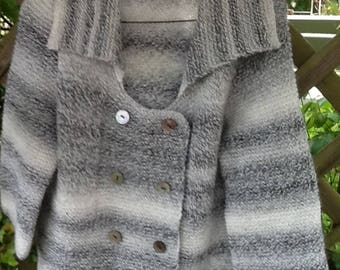Handknitted grey random yarn boxy jacket