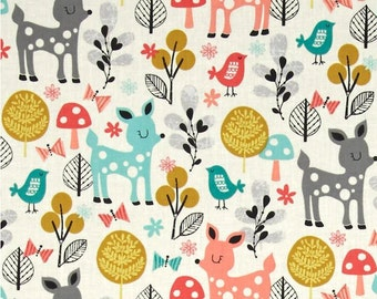 Acorn Forest Fabric - Robert Kaufman Fabric - Acorn Forest Sorbet Fabric - Wendy Kendall Fabric - Deer Quilt Fabric - 1 yd 12 inch LAST