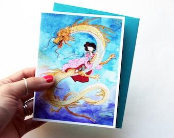 Dragon Girl - cute blank greeting card with envelope - tattooed geisha