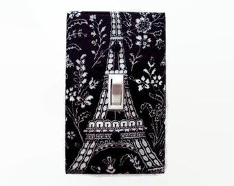 Paris Light Switch Cover - Eiffel Tower Switch Plate - Black White Switchplate - Paris Bedroom Decor