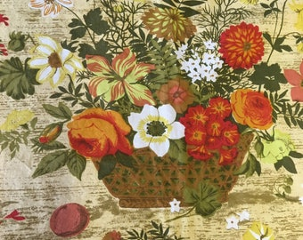 Fabric by the yard vintage Greff fabric 1970's 5 yard piece 24 inches wide floral print in harvest colors retro fabric