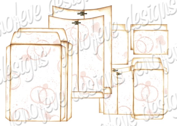 6x9 Printable Envelope Album Watermark & Plain Templates