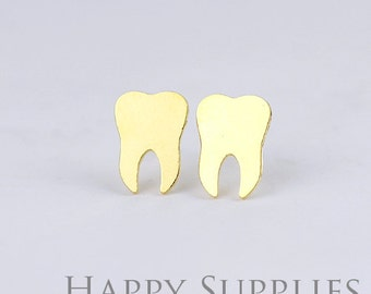 Nickel Free - High Quality Teeth Dual-used Golden / Silver / Rose Gold Brass Earring Post Finding with Ear Studs Back Stopper (ZEN050)