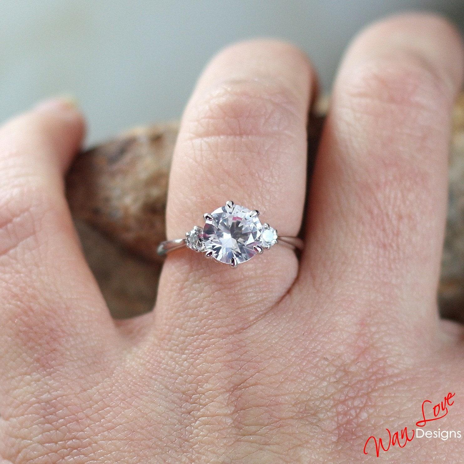 White Sapphire 3 Stone Engagement Ring 2ct 8mm 3mm 14k 18k