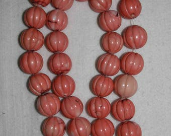 Coral, Natural Coral, Large Coral Bead, Pumpkin Shape Bead, Color Enhanced, Organic Coral Bead, ONE BEAD, 23 mm, AdrianasBeads