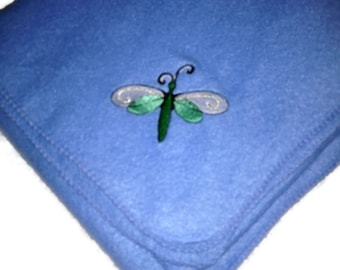 Dragonfly in Mint Green on a Blue Lightweight Fleece Blanket Embroidered Ready to Ship