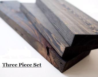 Solid Reclaimed Wood Shelves Set - Free Shipping - three reclaimed wood shelves included - Industrial Wood Shelving Set