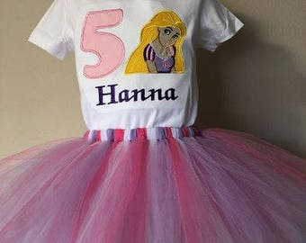 Rapunzel 1st, 2nd, 3rd, 4th, 5th, Birthday Embroidered Outfit tutu Personalized