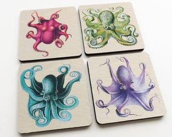 Octopus Drink Coasters sea beach ocean nautical home decor cthulhu tentacles kraken flexible neoprene housewarming hostess gift nerd