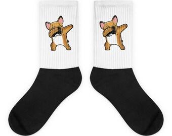 Funny Dabbing Fawn French Bulldog Socks, Cute French Bulldog Gift, Frenchie Dog Dab Dance Print