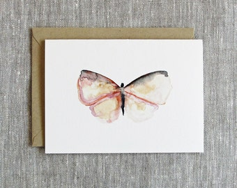Watercolor Butterfly Card.  Blank Note Card.