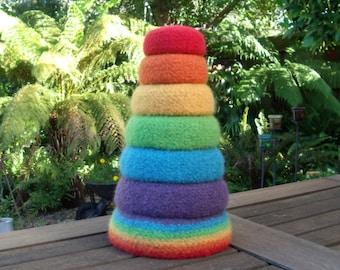 Set of 7 Rainbow Nesting Bowls / Felted Wool Bowls / Nesting Bowls / Jewellery Organiser / Desktop Organiser