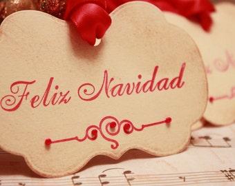 Christmas Tags (Doubled Layered) - Feliz Navidad Tags - Handmade Vintage Inspired Christmas Gift Tags - Vintage Christmas Tags - Set of 8