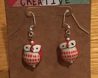 Owl Earrings- Vermillion