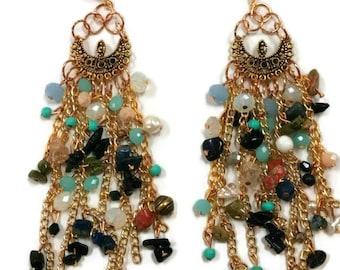 Gold Boho Earrings - Gold Statement Earrings - Boho Statement Earrings - Beaded Boho Earrings - Beaded Statement Earrings - Gold Earrings