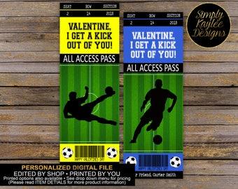 Soccer Game Ticket Valentine's Day Card