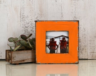 "5x5"" Square Picture Frame in 2.25"" Reclaimed Redwood with Super Vintage Orange Finish - IN STOCK Same Day Shipping - 5 x 5 Reclaimed Wood"