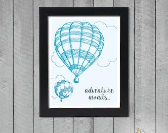Adventure Awaits Poster - Hot Air Balloon Poster