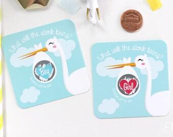 10 Baby Gender Reveal Scratch Off Cards - Stork