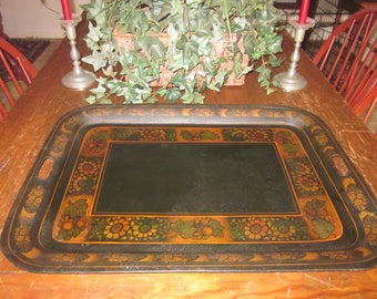 Primitive Antique Stenciled Tin Tray Flowers, Leaves & Berries