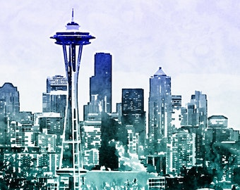 Instant Download Seattle Skyline Watercolor Painting, Blue and Aqua Ombre Space Needle Cityscape, Printable Photo Art