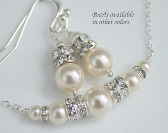 CHOOSE YOUR COLORS  - Swarovski Ivory Pearl Necklace and Earring Set, Bridesmaid Gift, Bridesmaid Jewelry Set