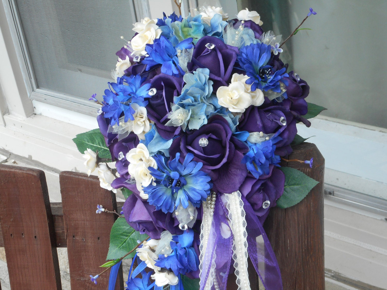 3 pc real touch rose purple royal blue and ivory cascading zoom izmirmasajfo Image collections