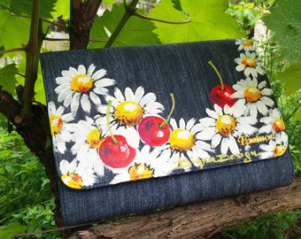 Hand Painted Clutch Bag, Denim Clutch Bag, Cherries and Daisies, Cherry Denim Bag, Denim Clutch, Handpainted Clutch, Clutch Bag Denim Cherry
