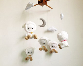 Baby mobile - Crochet Cute Little Lamb with Tiny Bell, Sheep baby mobile, crochet mobile, Nursery decor, Gift, Baby gift, Crochet lamb
