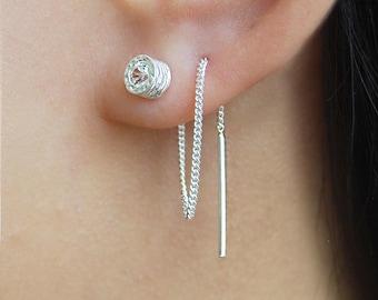 Handmade Earrings, Silver Jewellery, Gifts For Her, Birthstone Gifts, Topaz Earrings, Handmade Jewellery, Birthday Gifts, Threader earrings