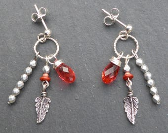 Sterling Silver earrings and Swarovski Crystal, drops, red earrings, Silver earrings, rings, red feathers