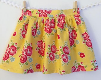 Red rose gathered skirt