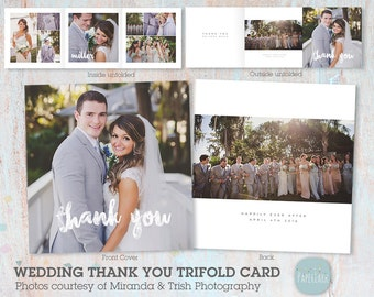 Wedding Thank You Card Photoshop template AW016 INSTANT