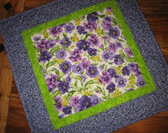 """Purple Yellow Panises Quilted Table Topper, Spring Summer Table Mat, Coffee Dining Table, 19 x 19"""" Reversible Handmade"""