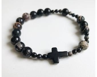 Black Jasper Cross Bracelet / Stretch Rosary Bracelet/ Jasper Cross Bracelet