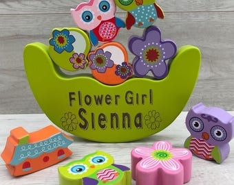 Owl balancing engraved personalised wooden toy - flower girl gift