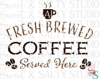 fresh brewed coffee served here digital file