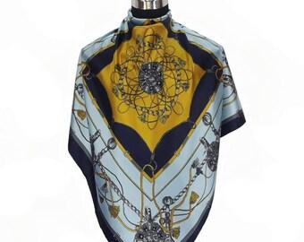 Livraison gratuite!! Modèle authentique belle écharpe/luxe avec motif imprimé doré comme un Chanel foulard/Hermes scarf(A42)