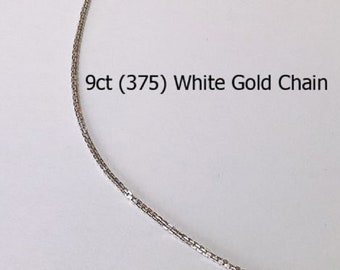 9ct 9K 375 Solid White Gold Chain Necklace for Pendant Jewellery