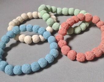 Stretch Bracelets Lava stone aromatherapy diffusers, colored bracelets women, man, girl