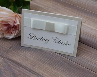 Ribbon Place card | Ivory Place card | wedding placename | Luxury Wedding Stationery | Simple Place name