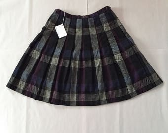 plum plaid mini skirt | schoolastic plaid skirt | flounce pleated mini skirt