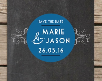 Art Deco Chalkboard Save the Date Magnet