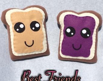 PB & J Friendship Toast Plush, Best Friends Plushie, Kawaii