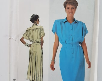 UNCUT Shirtwaist Dress Sewing Pattern Back Yoke with Bias Inset Vintage 80s Size 10-12-14 Bust 32.5-36 (64-71 cm) Simplicity 7942