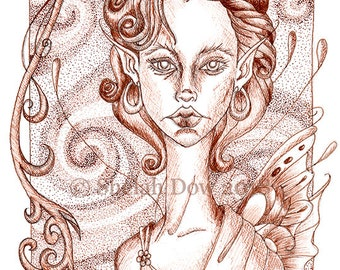 Disenchanted Fairy Art Print by Shelah Dow - 8x10 Reproduction Print of Pen and ink Stippled Drawing Pointillism