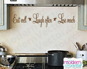 Eat Well, Laugh Often, Love Much Vinyl Wall Quote Decal Quote Couples  Anniversary Marriage