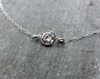 Layering Necklace, CZ Solitaire Necklace, Sterling Silver, Floating CZ Necklace, Gold Fill