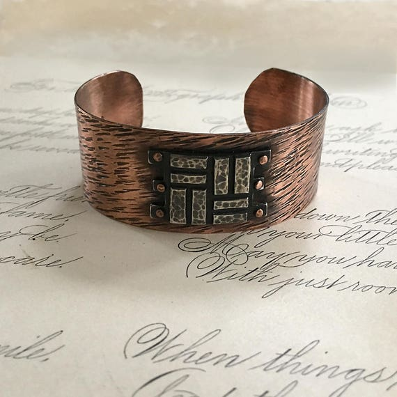 Copper Jewelry, Hammered Cuff Bracelet, Copper Rivets, Mixed Metal